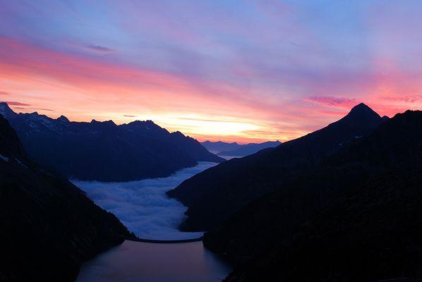 Sonnenuntergang auf der Plauener Hütte-Zillertaler Alpen