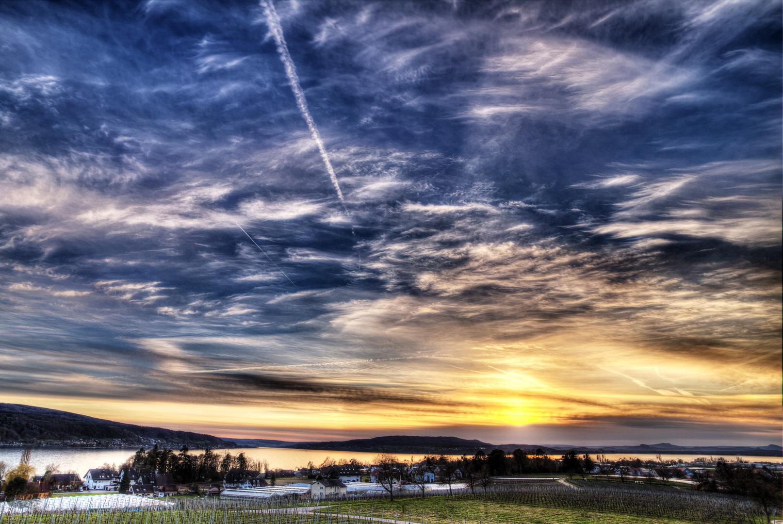 Sonnenuntergang auf der Reichenau