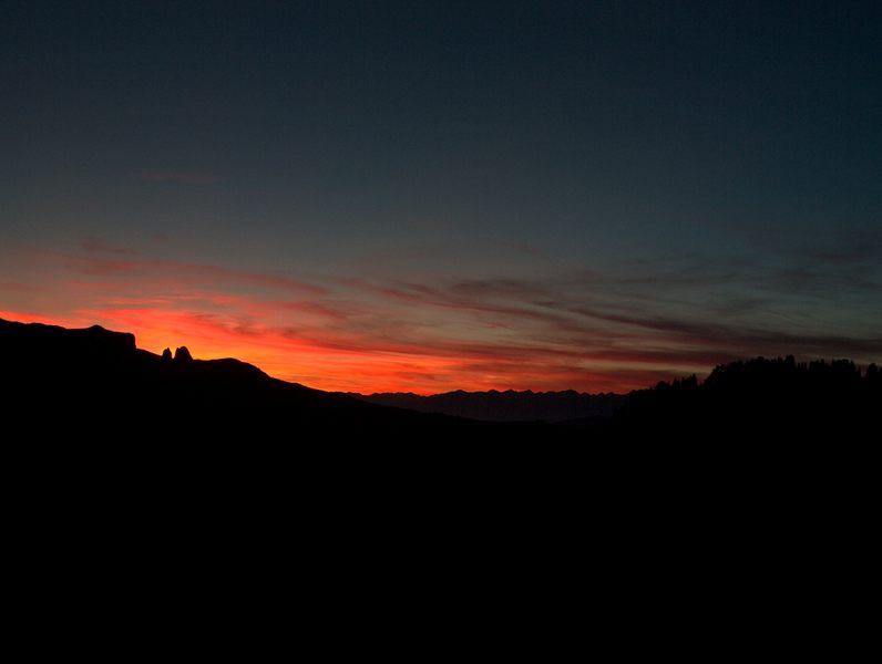 Sonnenuntergang auf der Seiseralm