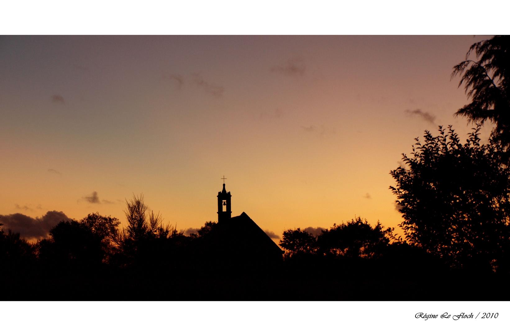 Sonnenuntergang auf La Motte, bei Locronan