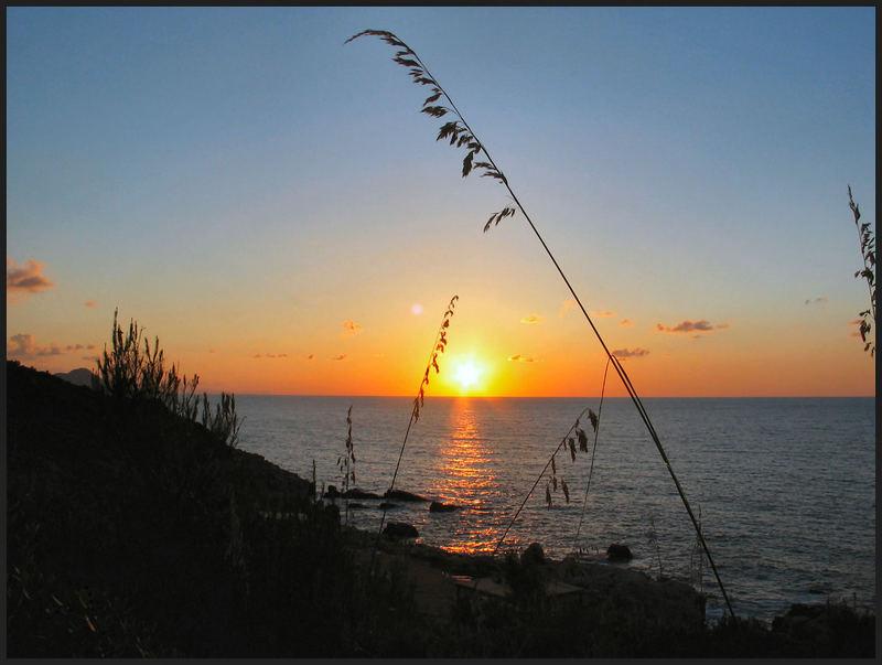Sonnenuntergang auf Sizilien bei Cefalu Hotelanlage Polina