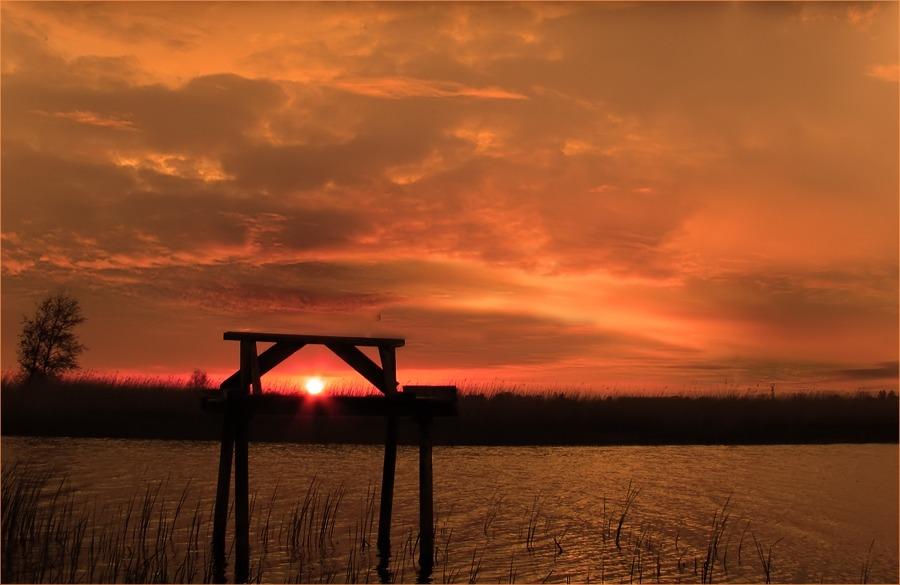 Sonnenuntergang auf Ventpils