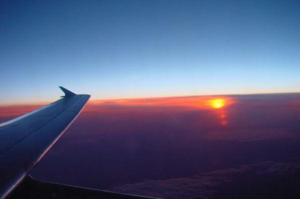 Sonnenuntergang  aus dem Flugzeug fotografiert.