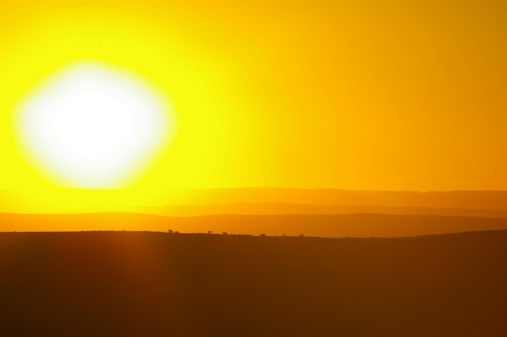 Sonnenuntergang bei der Canon Lodge in Namibia