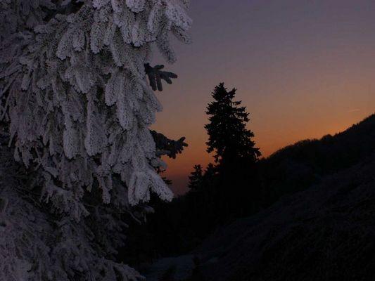 Sonnenuntergang bei Frostigen Minustemperaturen