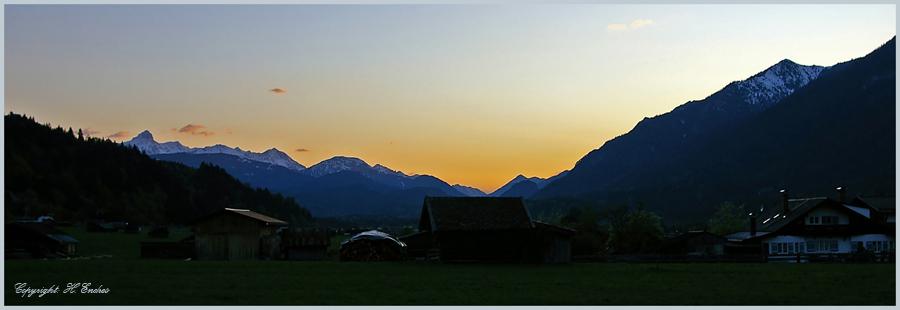 Sonnenuntergang bei Garmisch