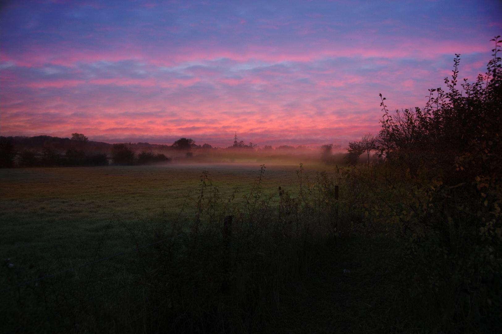 Sonnenuntergang bei Nebel