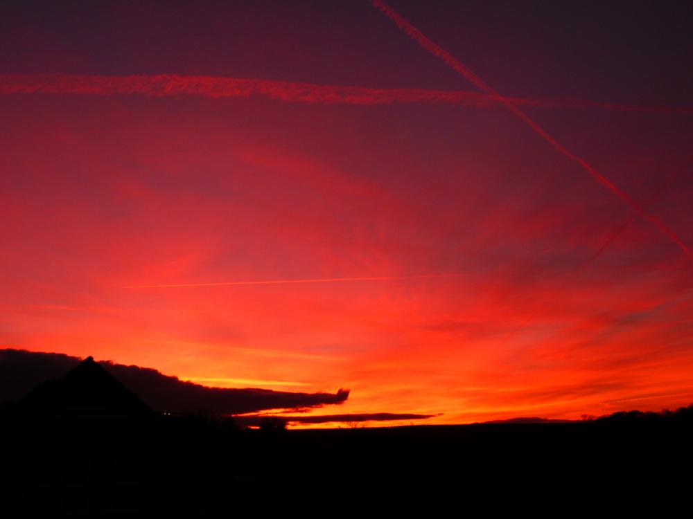 Sonnenuntergang bei Roßdorf/Hessen
