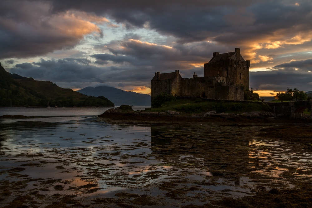 Sonnenuntergang beim Eilean Donan Castle