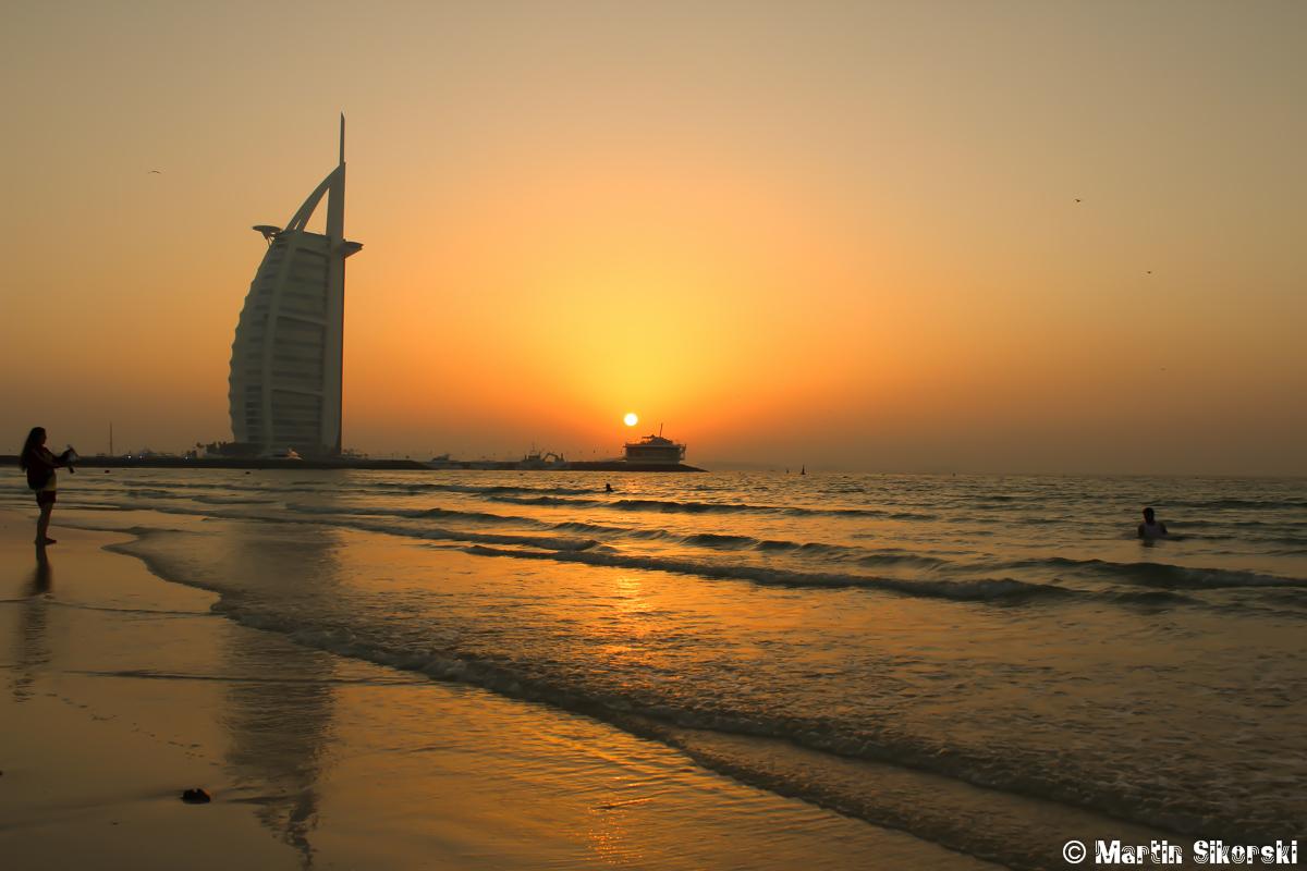 Sonnenuntergang Burj al Arab in Dubai