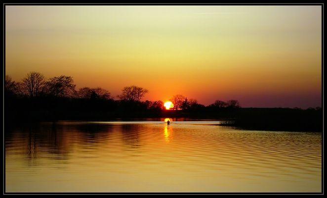 Sonnenuntergang, Greifswald, am Ryck