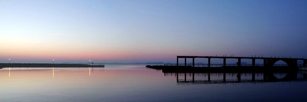 Sonnenuntergang Hafen Wiek auf Rügen