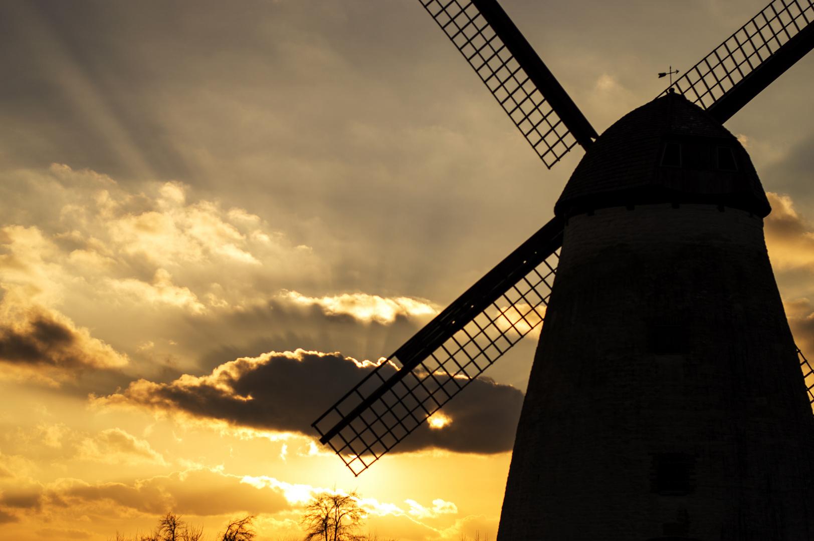 Sonnenuntergang hinter der Windmühle