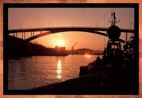 Sonnenuntergang im Hafen von Bergen