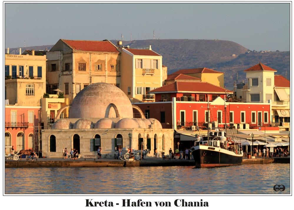 Sonnenuntergang im Hafen von Chania