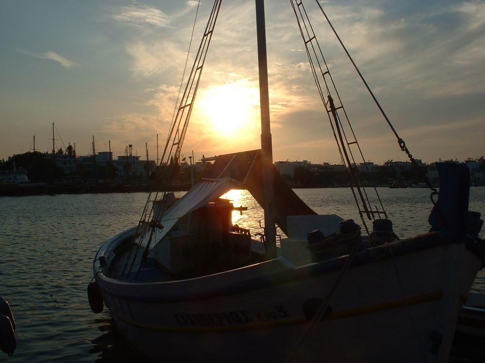 Sonnenuntergang im Hafen von Kos