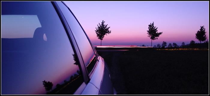 Sonnenuntergang im Metallic-Lack