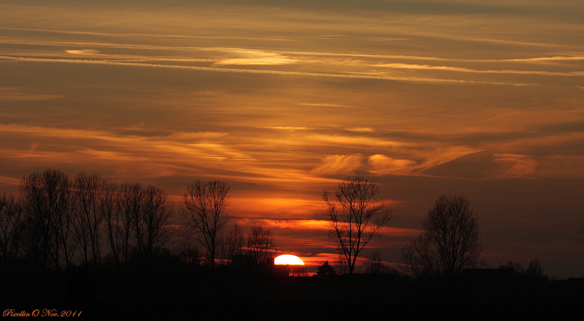 Sonnenuntergang im November (Köln-Flitterd)