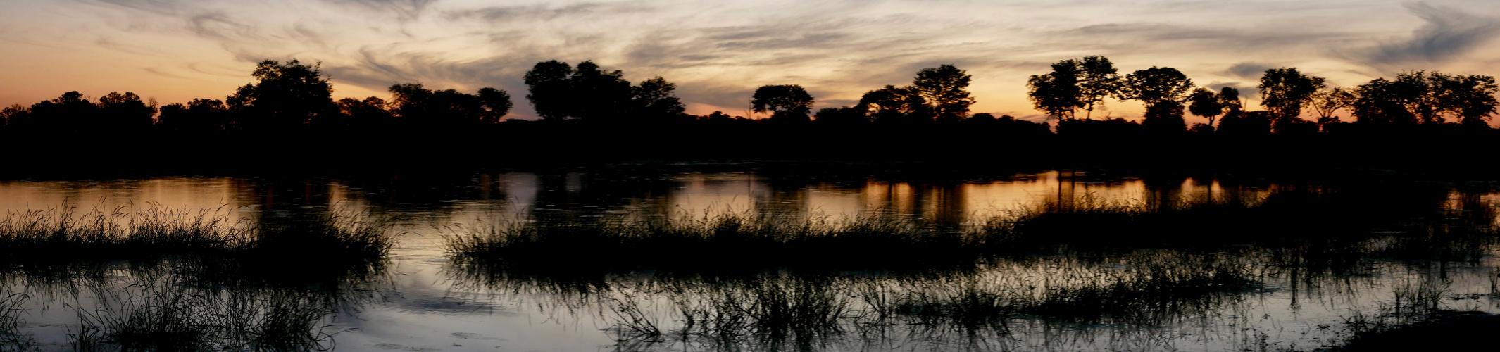 Sonnenuntergang im Okavangodelta Botswana