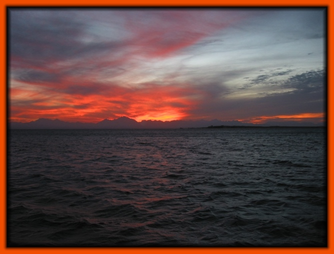 Sonnenuntergang im roten Meer