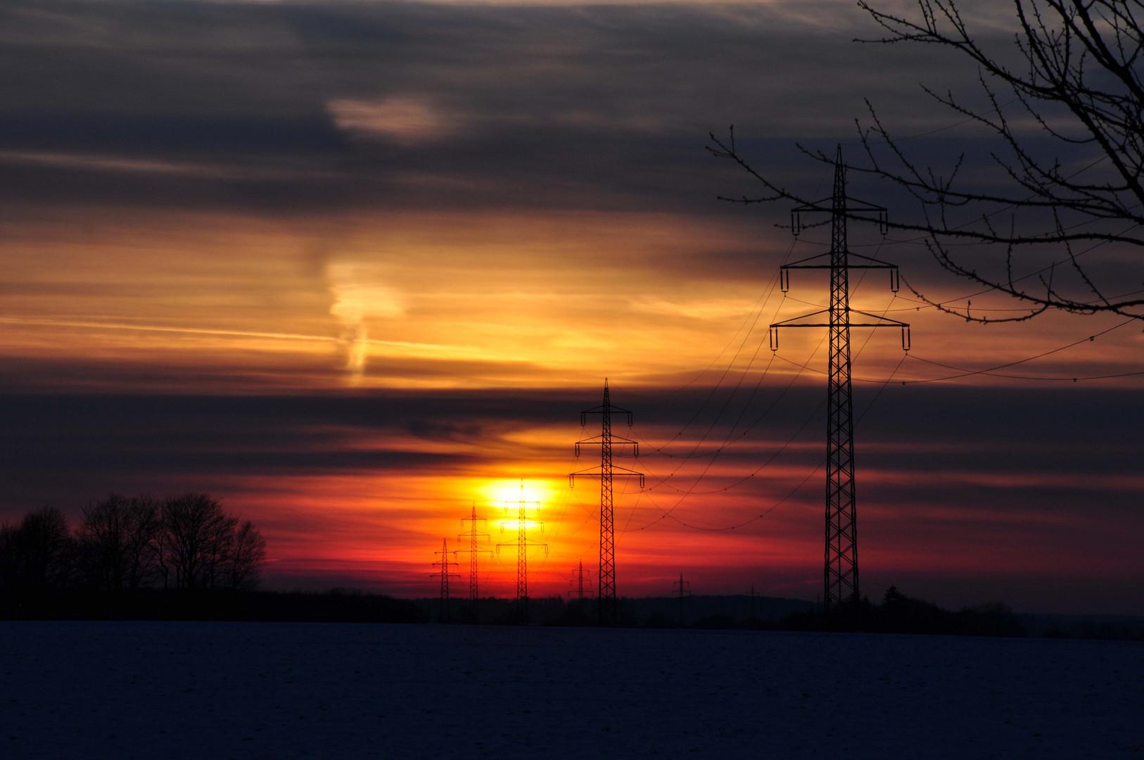 Sonnenuntergang im verschneiten Altenrüthen