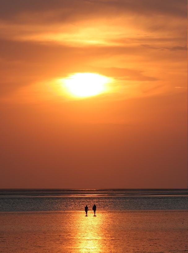Sonnenuntergang im Watt von Dagebüll