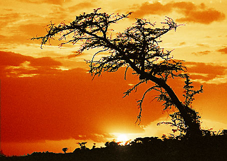 Sonnenuntergang in Ambo/Äthiopien