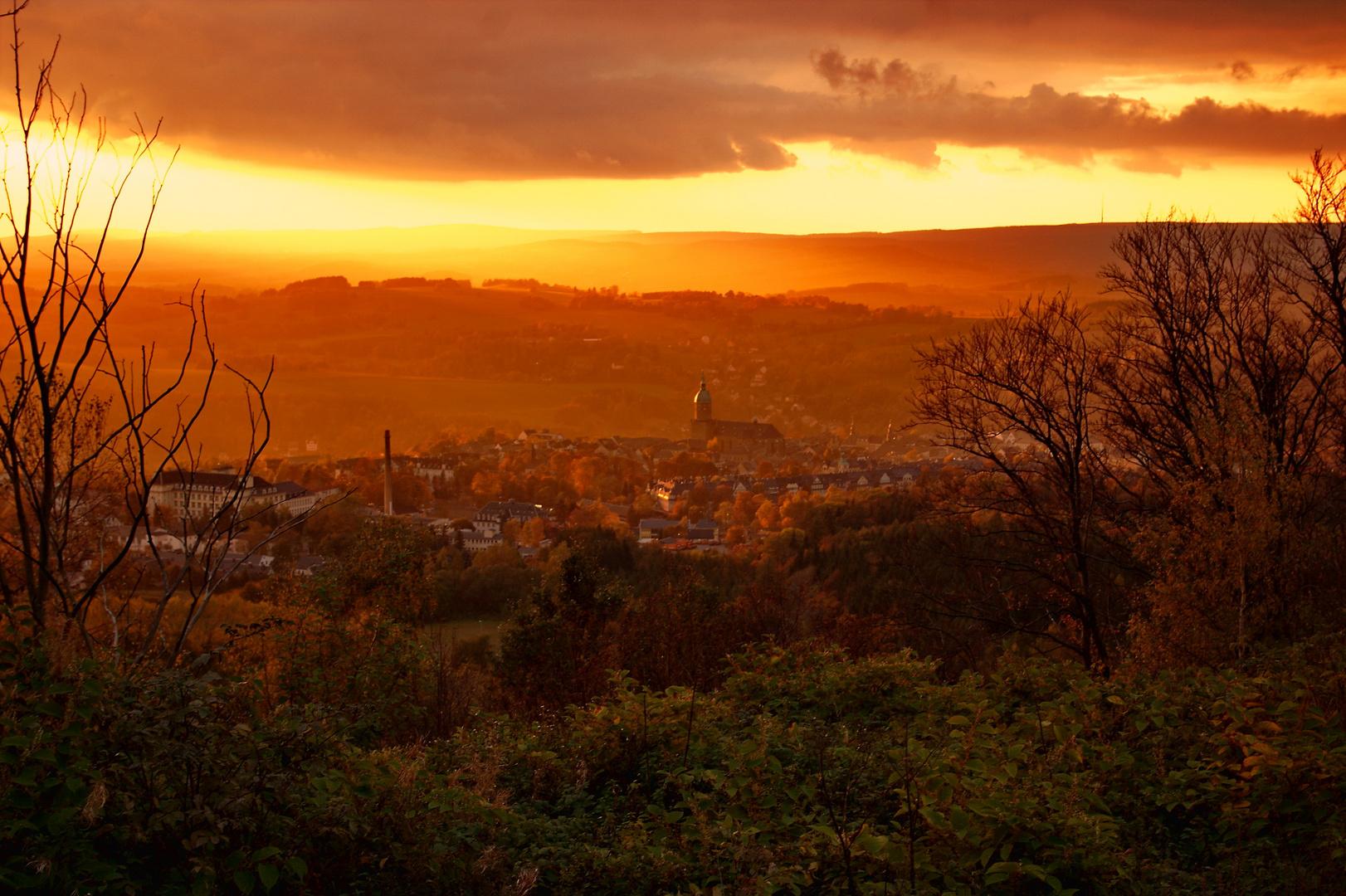 Sonnenuntergang in Annaberg-Bucholz