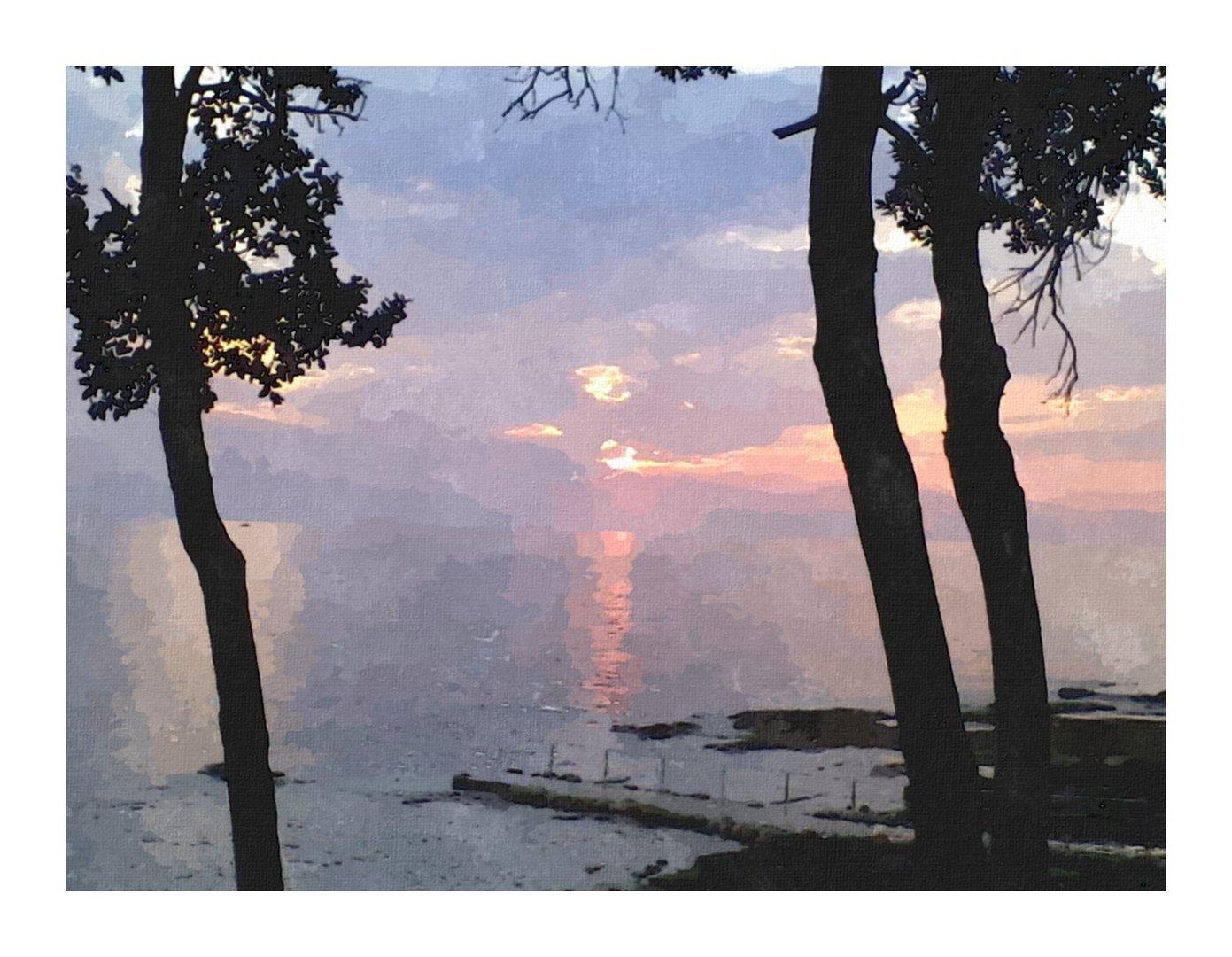Sonnenuntergang in Aquarell