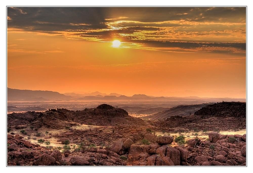 Sonnenuntergang in Damaraland