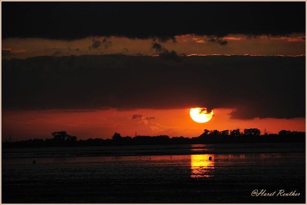 Sonnenuntergang in Dangast an der Nordsee / Jadebusen