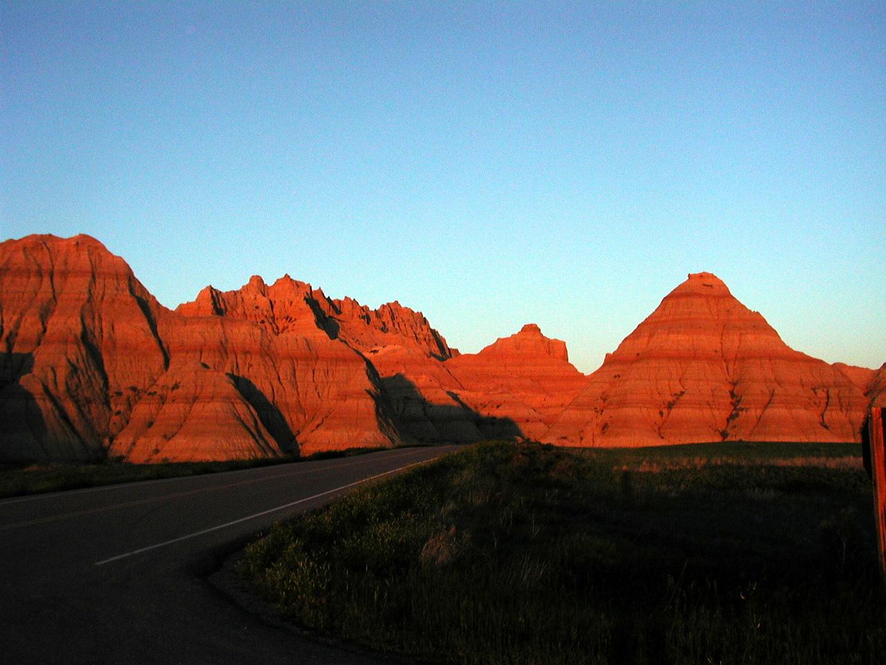 Sonnenuntergang in den Badland USA