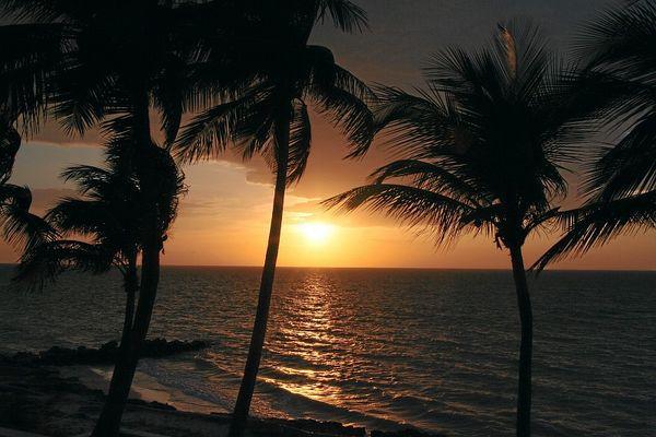 Sonnenuntergang in der Nähe von Campeche, Mexiko