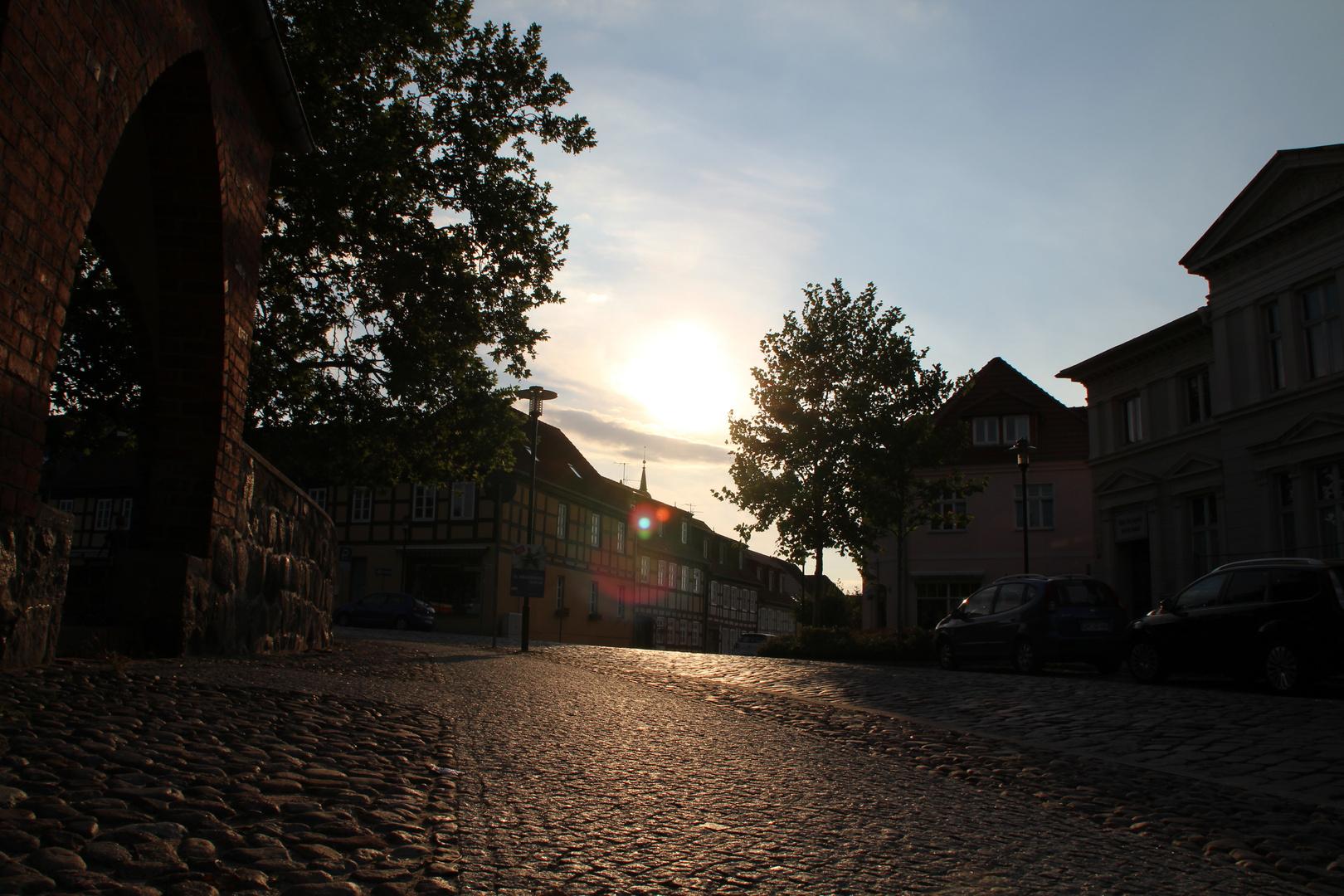 Sonnenuntergang in der Templiner Innenstadt