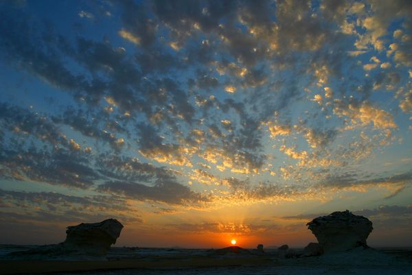Sonnenuntergang in der Weissen Wüste