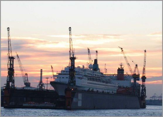 Sonnenuntergang in Hamburg