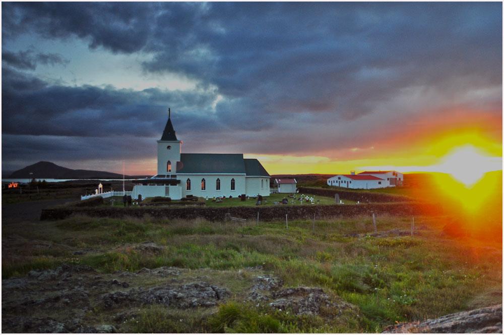 Sonnenuntergang in Island nahe Myvatn