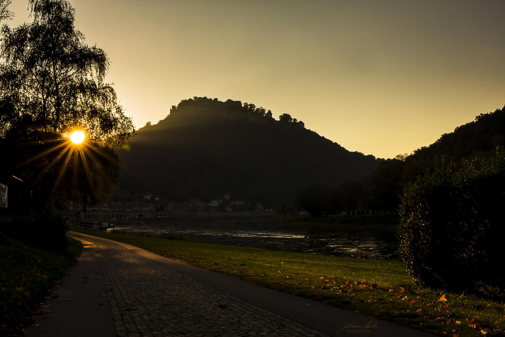 Sonnenuntergang in Königstein an der Elbe