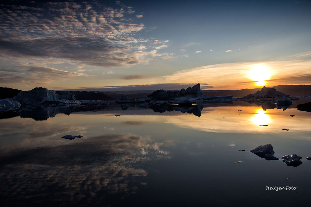 Sonnenuntergang in Ostgrönland