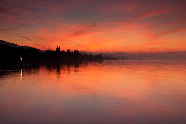 Sonnenuntergang in Staad Bodensee (Kanton St. Gallen, Schweiz)
