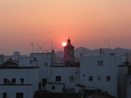 Sonnenuntergang Malaga Stadt