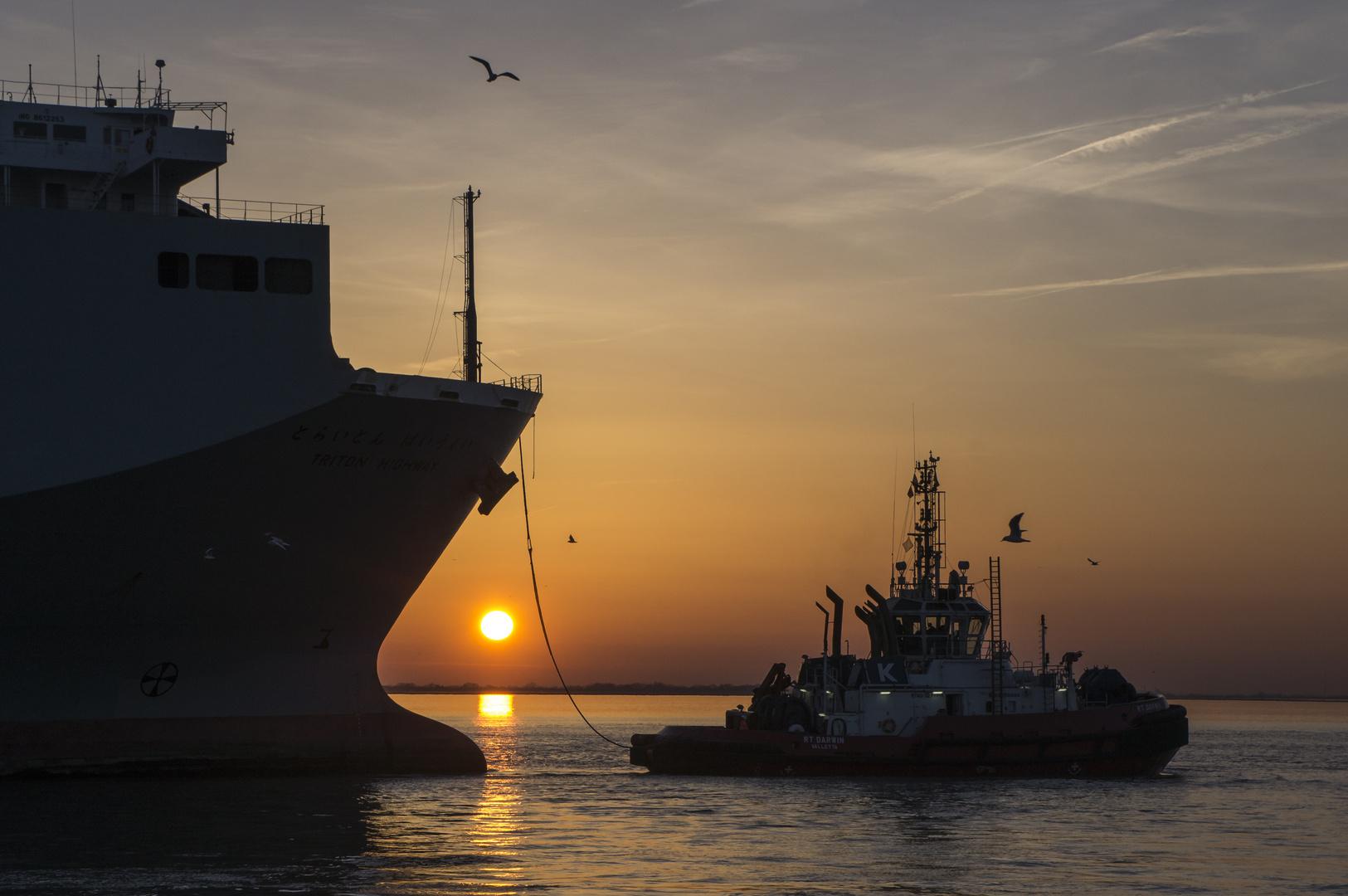 Sonnenuntergang mit Autotransporter und Schlepper