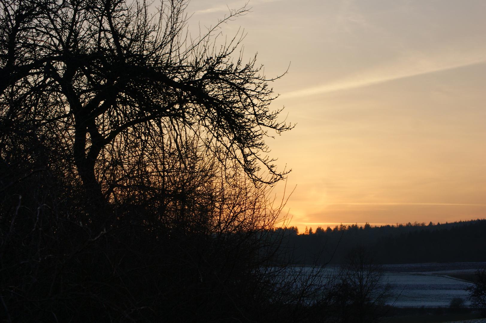 Sonnenuntergang mit schnee