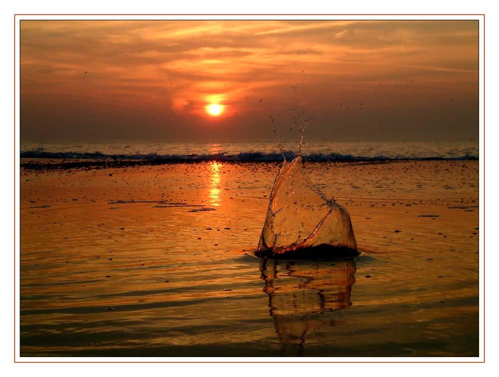Sonnenuntergang mit Spritzern