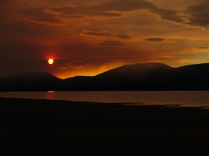 Sonnenuntergang mit Waldbrandrauch