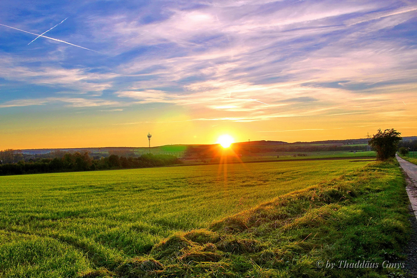 Sonnenuntergang Rosdorf papenberg ein Blick Richtung Olenhausen