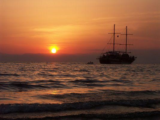 Sonnenuntergang Sandy Beach Side