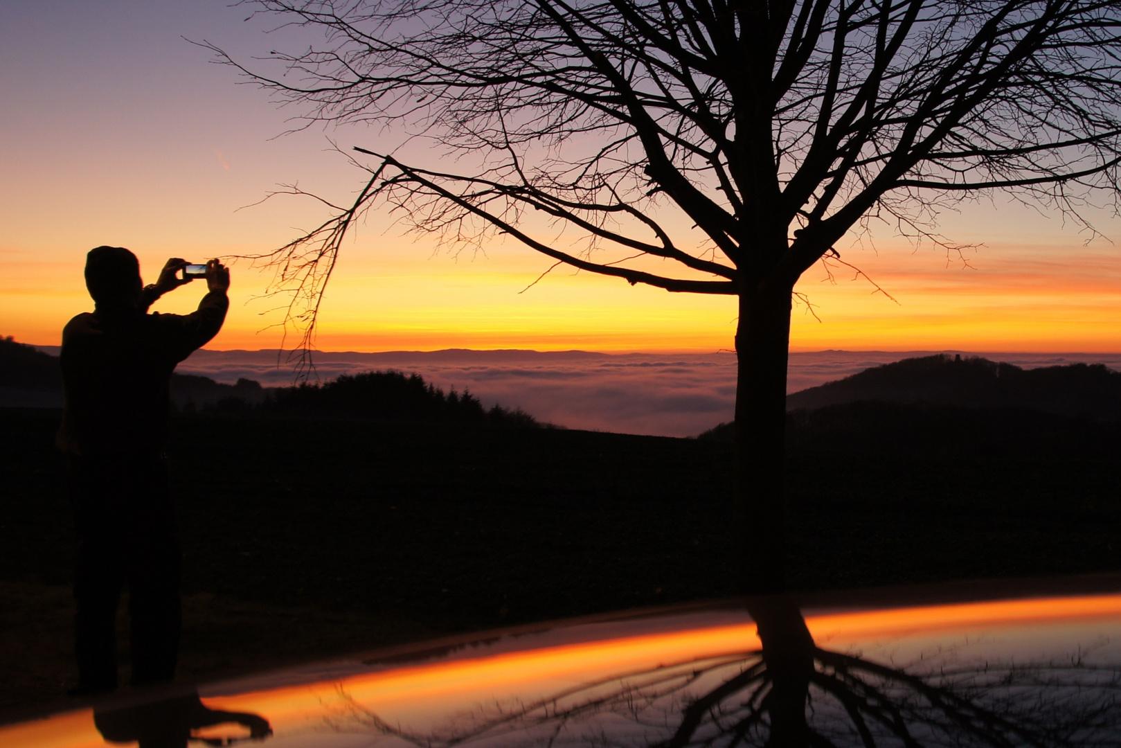 Sonnenuntergang über dem Ahrtal (Eifel) von den Rheinhöhen aus fotgraphiert
