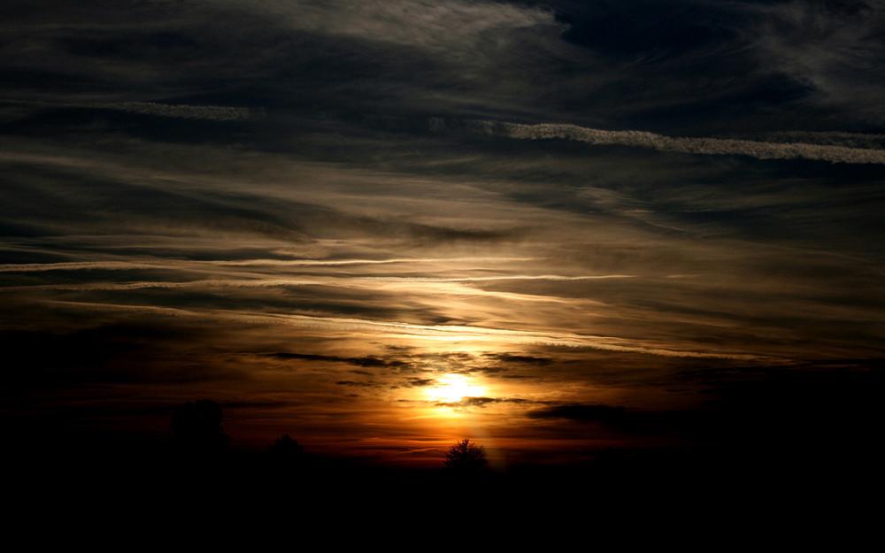 Sonnenuntergang über dem Lechfeld