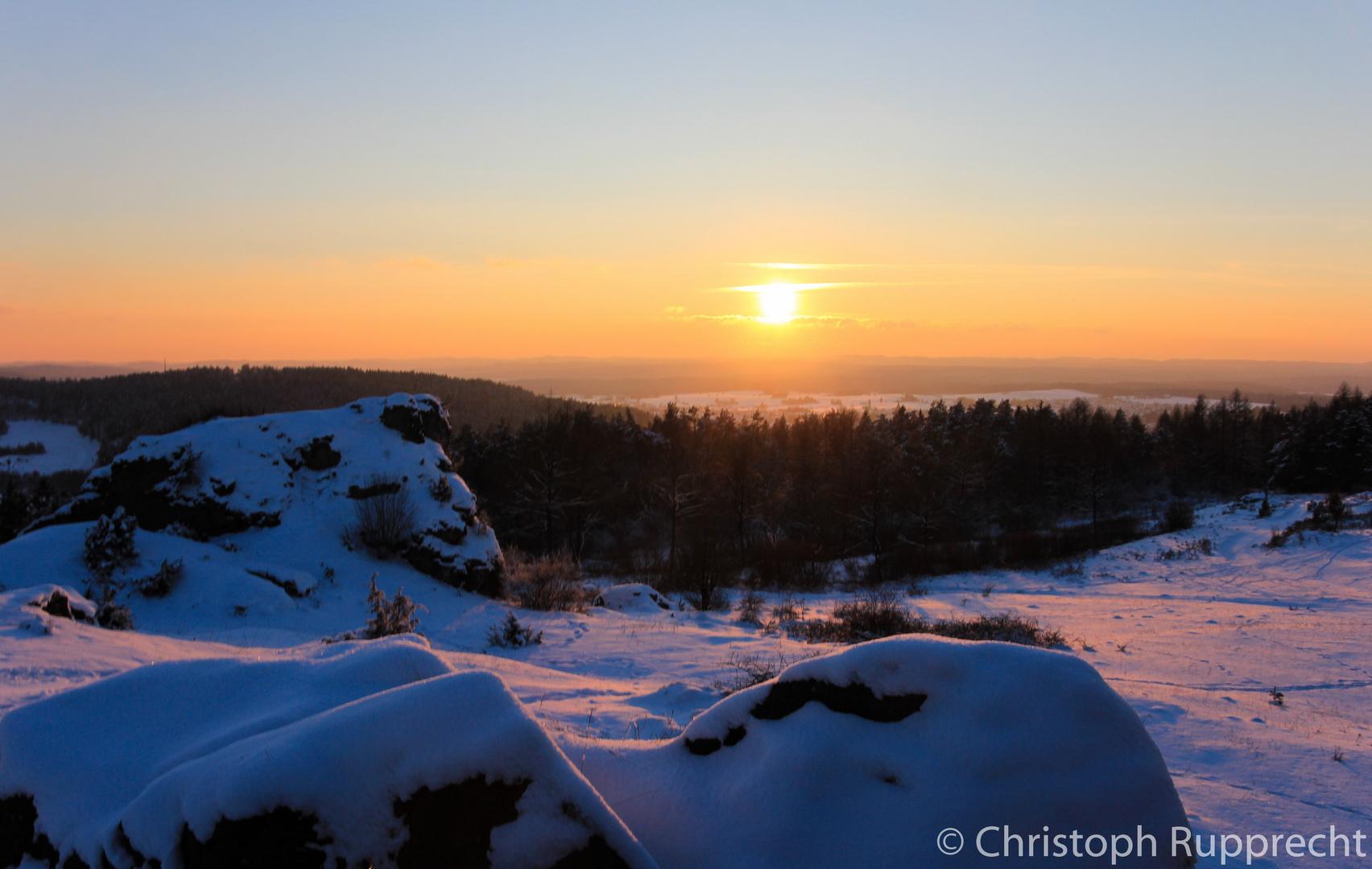 Sonnenuntergang über dem Zogenreuther Felsen